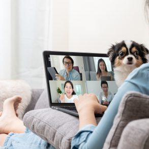 Mulher sentada, realizando uma video conferencia, com seu cachorro em seu colo. Representando o trabalho remoto