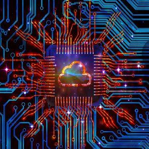 nuvem centralizada com diversas conexões, representando a edge computing e suas ligações com data center