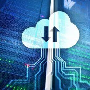 racks e imagem de nuvem, remetendo a serviços de cloud e data center