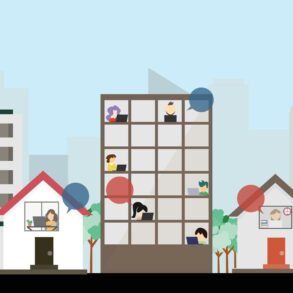 Pessoas trabalhando em suas casas ou nas empresas, remetendo ao trabalho hibrido